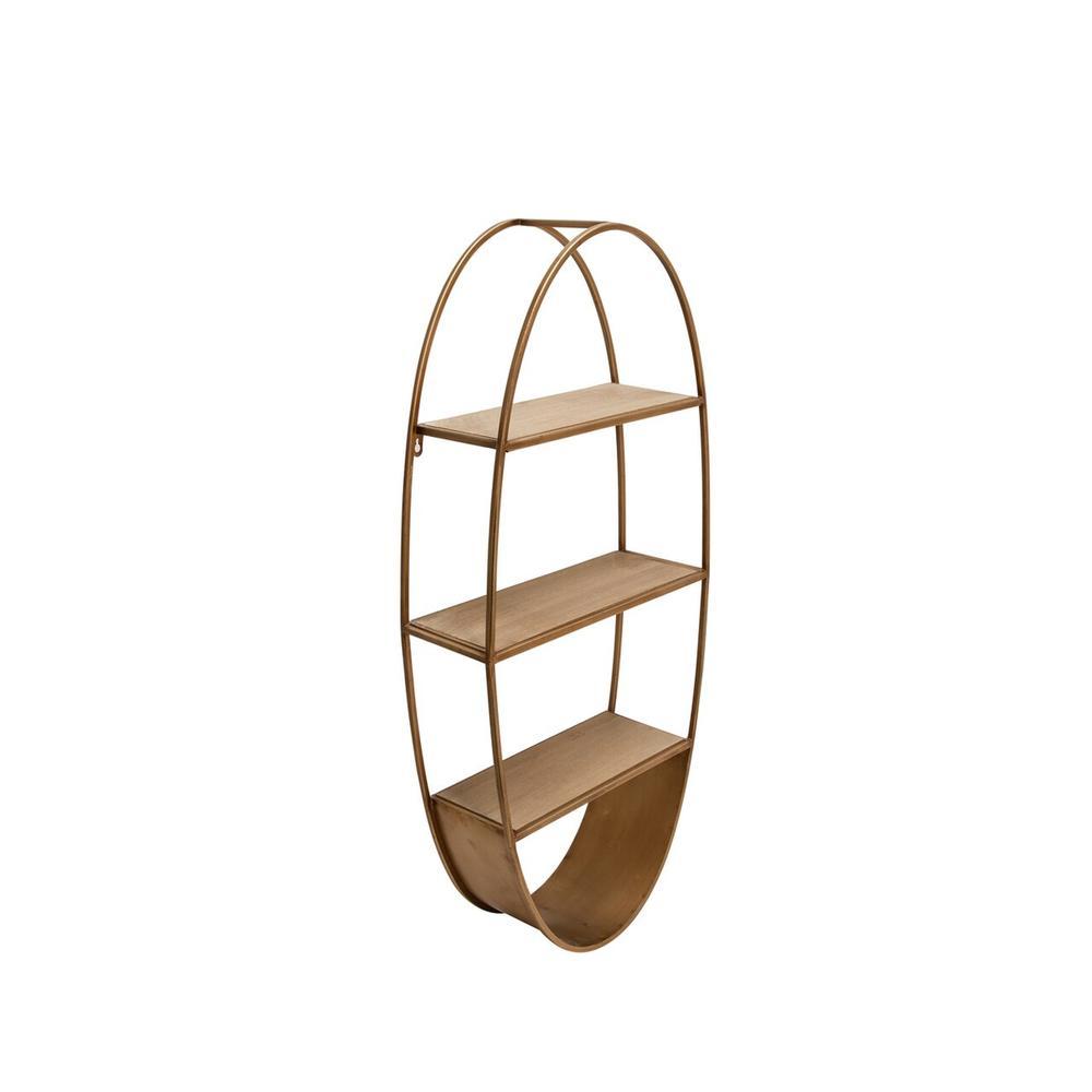 "Oval 36"" Wood/metal Wall Shelf, Bronze"