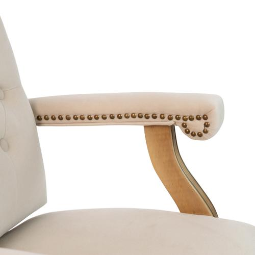 Gallery - Ivory Microfiber Classic Executive Swivel Office Chair with Driftwood Arms and Base