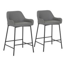 See Details - Daniella Fixed-height Counter Stool - Set Of 2 - Black Metal, Grey Pu