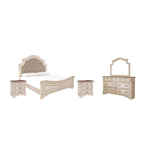 Queen Upholstered Panel Bed With Mirrored Dresser and 2 Nightstands