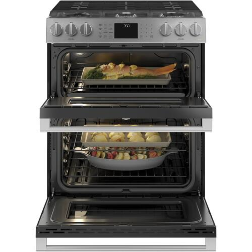 "Café 30"" Smart Slide-In, Front-Control, Gas Double-Oven Range with Convection in Platinum Glass"
