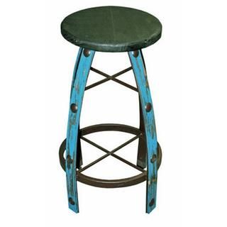 Turq Scraped Round Barstool
