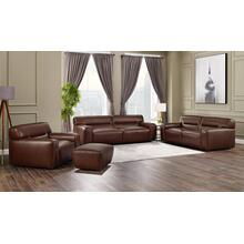 Milan Leather Living Room Set - Brown (4 Piece)