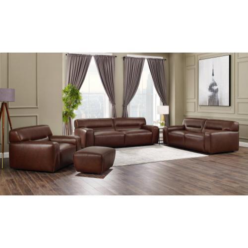 Milan Leather Living Room Set - Brown (4 Piece)