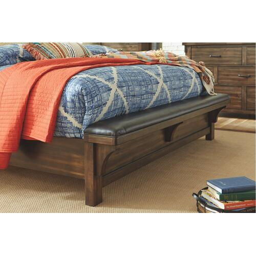 California King Panel Bed With Upholstered Bench With Mirrored Dresser and 2 Nightstands