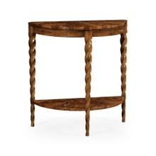 Walnut Barleytwist Demilune Console Table