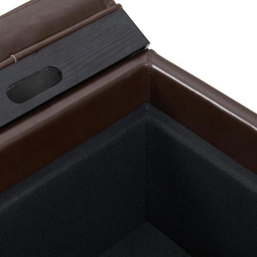 Cameron Square Leather Storage Ottoman w/ tray, Brown