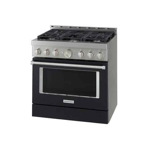 KitchenAid® 36'' Smart Commercial-Style Dual Fuel Range with 6 Burners - Imperial Black