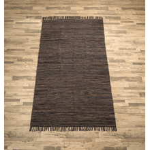 See Details - Dark Brown Leather Chindi 5x8 Rug (Each One Will Vary)
