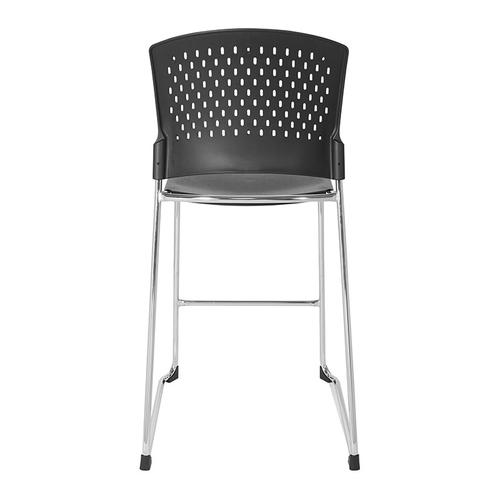 Tall Stacking Chair With Plastic Seat and Back and Chrome Frame 2-pack