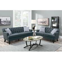 Amalia 2pc Loveseat & Sofa Set, Slate-velvet