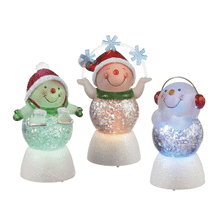 Lighted LED Snowman Mini Shimmers (3 asstd)