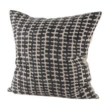 See Details - Miriam 18L x 18W Beige and Black Fabric Ikat Patterned Decorative Pillow Cover