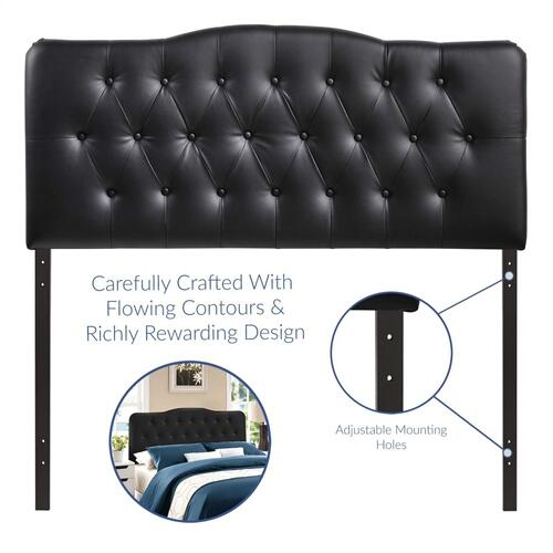 Annabel Full Upholstered Vinyl Headboard in Black