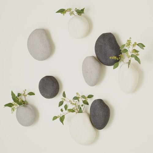 S/3 Pebble Wall Vases-Black