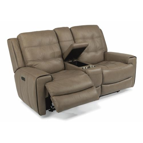Flexsteel - Wicklow Power Reclining Loveseat with Console and Power Headrests