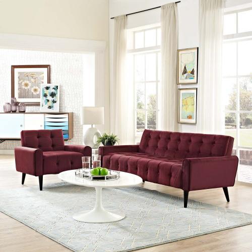 Modway - Delve Living Room Set Performance Velvet Set of 2 in Maroon