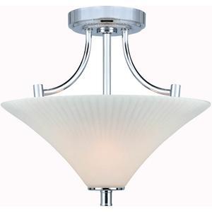 Semi-flush Mount Lamp, C/frost Glass Shade, E27 Type A 60wx2