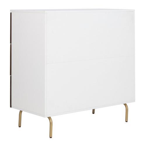 Genevieve 3 Drawer Dresser - White / Walnut