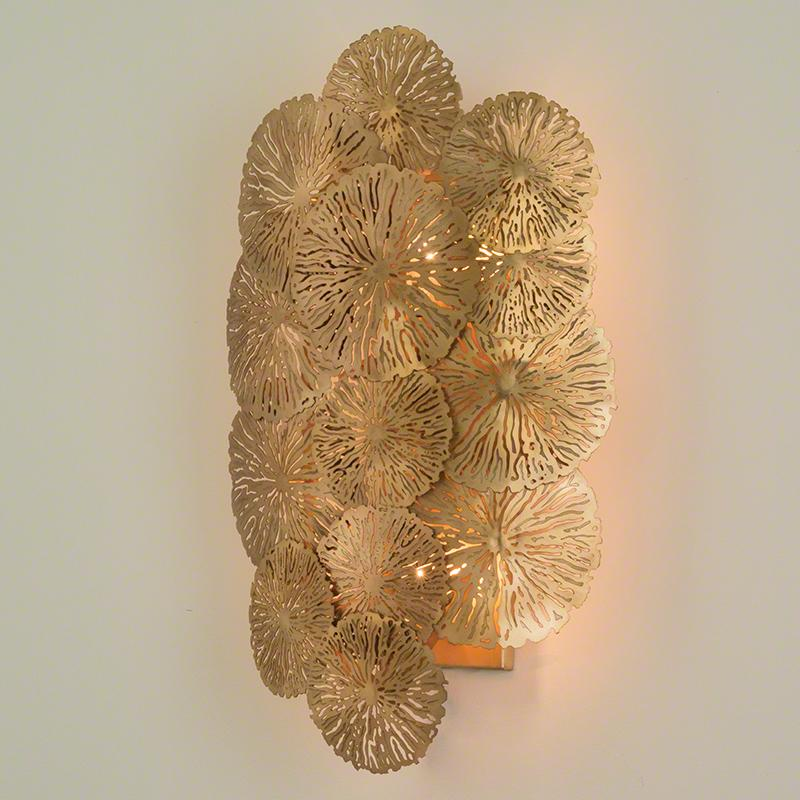 Lily Pad Wall Sconce-Antique Brass