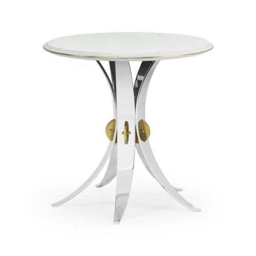 Round Stainless Steel End Table with Honed White Carrara Marble Top