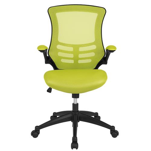 Gallery - Mid-Back Green Mesh Swivel Ergonomic Task Office Chair with Flip-Up Arms