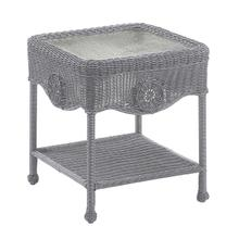 Riviera Resin Wicker/ Aluminum Glass Top Side Table - Weathered Gray