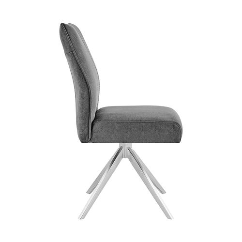 Armen Living - Monarch Swivel Dining Room Accent Chair in Grey Fabric and Brushed Stainless Steel Finish - Set of 2
