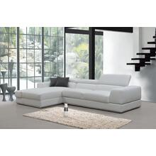 Divani Casa Pella Mini Modern White Leather Sectional Sofa