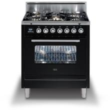 """30"""" Professional Plus Series Freestanding Single Oven Gas Range with 5 Sealed Burners in Glossy Black"""