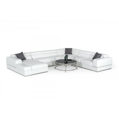 Divani Casa Pella - Modern White Italian Leather Sectional Sofa