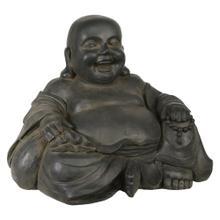 "Resin 23"" Happy Buddha, Gray"