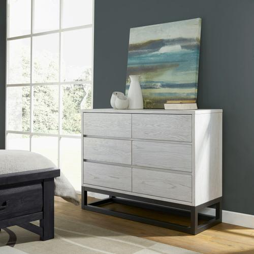 Modern White 6 Drawer Dresser