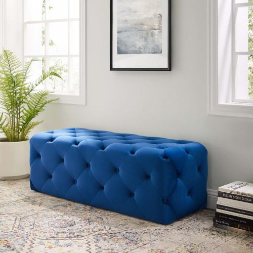 """Amour 48"""" Tufted Button Entryway Performance Velvet Bench in Navy"""