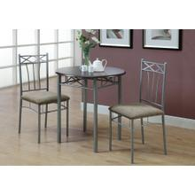 DINING SET - 3PCS SET / ESPRESSO / SILVER METAL