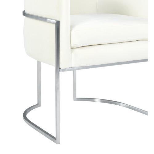 Giselle Cream Velvet Dining Chair - Silver Frame by Inspire Me! Home Decor
