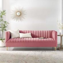 Shift Channel Tufted Performance Velvet Sofa in Dusty Rose