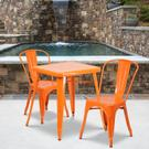 "Commercial Grade 23.75"" Square Orange Metal Indoor-Outdoor Table Set with 2 Stack Chairs Product Image"