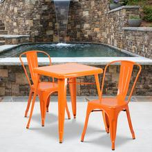 "Commercial Grade 23.75"" Square Orange Metal Indoor-Outdoor Table Set with 2 Stack Chairs"