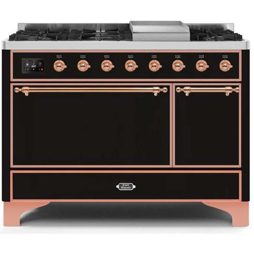 Product Image - Majestic II 48 Inch Dual Fuel Natural Gas Freestanding Range in Glossy Black with Copper Trim