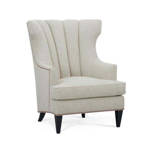Fluted Black Occasional Chair, Upholstered in Rivoli Luxe