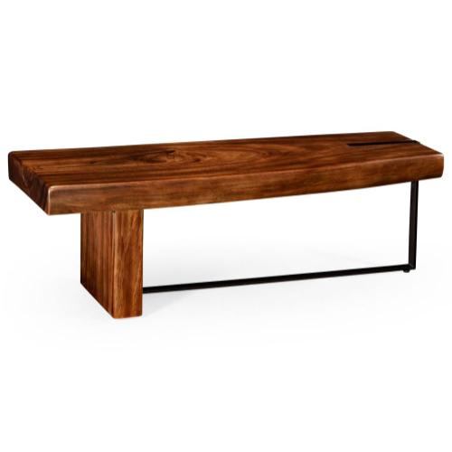 Mid century style guanacaste wood and iron coffee table