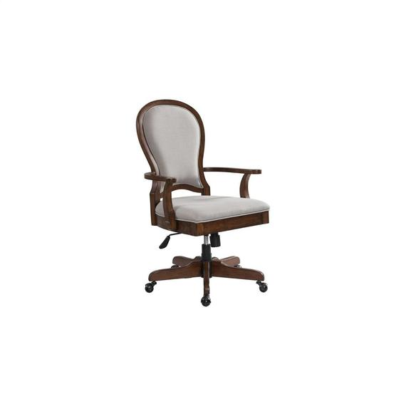 Riverside - Clinton Hill - Round Back Uph Desk Chair - Classic Cherry Finish