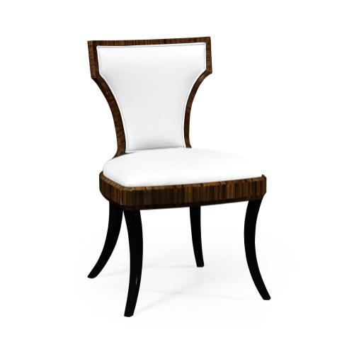 Full Back Art Deco Macassar Ebony High Lustre Dining Side Chair, Upholstered in COM