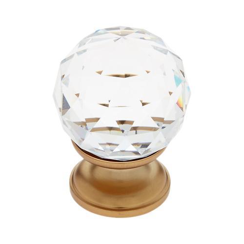 Satin Brass 30 mm Round Faceted Knob