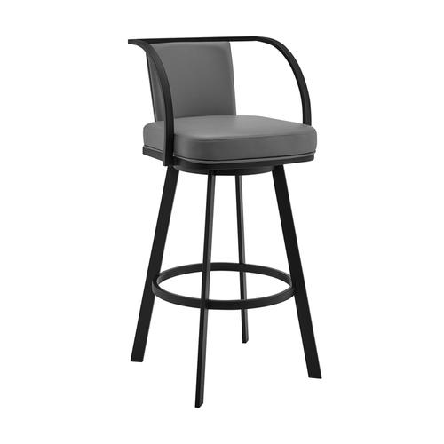 "Livingston 26"" Gray Faux Leather and Black Metal Swivel Bar Stool"