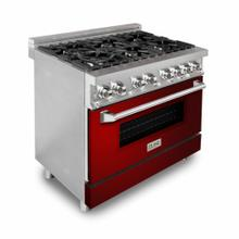 """See Details - ZLINE 36"""" Dual Fuel Range with Gas Stove and Electric Oven in Stainless Steel with Color Door Options (RA36) [Color: Red Gloss]"""