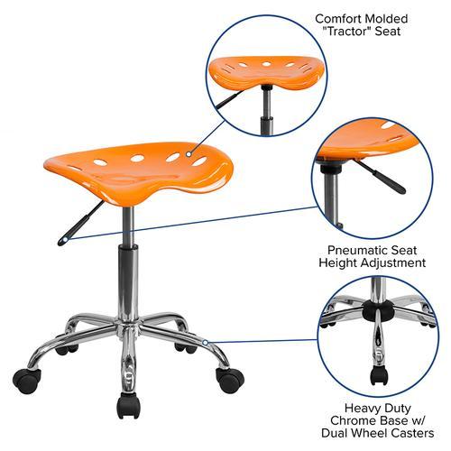 Flash Furniture - Vibrant Orange Tractor Seat and Chrome Stool