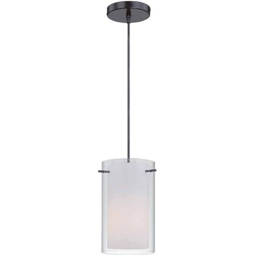 Pendant Lamp, Black W/frost Inner & Clear Outer Glass,a 60w