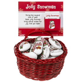 Snowmen Stones in a Basket (24 pc. ppk.)